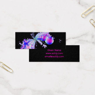 Splash Fractal Art Black Mini Business Card