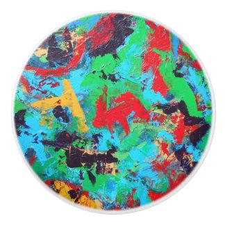 Splash-Hand Painted Abstract Brushstrokes Ceramic Knob
