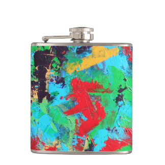 Splash-Hand Painted Abstract Brushstrokes Hip Flask