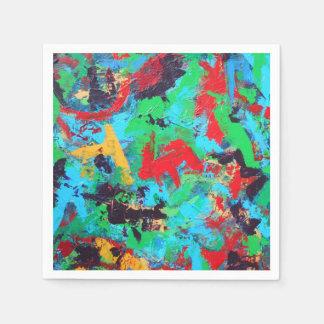 Splash-Hand Painted Abstract Brushstrokes Paper Napkin