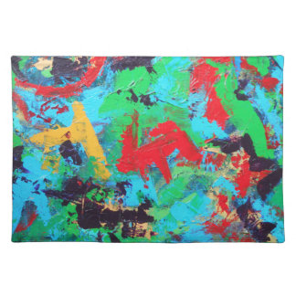 Splash-Hand Painted Abstract Brushstrokes Placemat