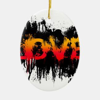 Splash Love Text Ceramic Oval Ornament