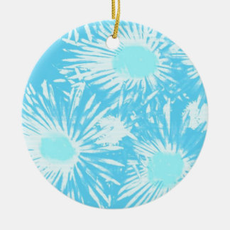 splash of blue round ceramic ornament