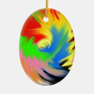splash of color ceramic oval ornament