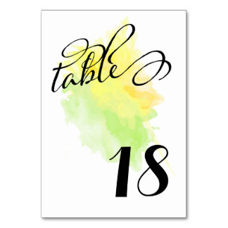 Splash of Yellow/Green Watercolor Table Numbers Table Cards