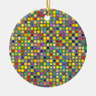 Splash Of Yellow Multicolored 'Clay' Tile Pattern Round Ceramic Ornament