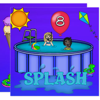 """Splash"" Pool Party 8th Birthday Card"