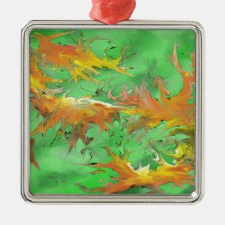 Splash Silver-Colored Square Ornament