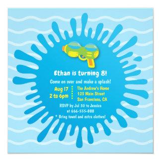 Splash Water Gun Boys Birthday Party Invitations