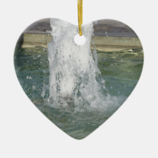 Splashes of fountain water in a sunny day ceramic heart ornament
