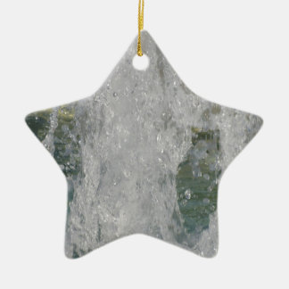 Splashes of fountain water in a sunny day ceramic star ornament