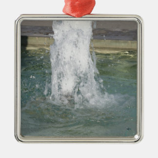 Splashes of fountain water in a sunny day Silver-Colored square ornament
