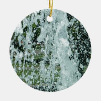 Splashing Fountain Water Round Ceramic Ornament