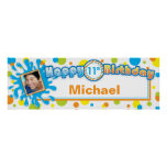 Splashing Fun in the Sun Birthday Photo Banner Poster