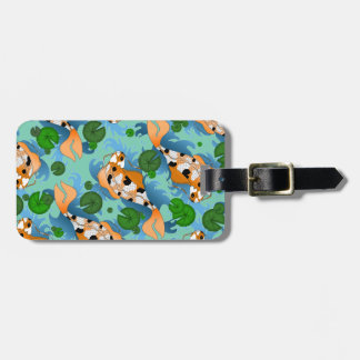 Splashing Koi Fish and Pond Lilies Custom Luggage Tag
