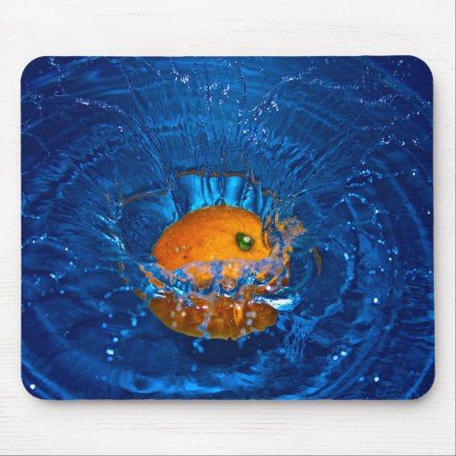 SPLASHING ORANGE BLUE WATER RIPPLES PHOTOGRAPHY FR MOUSEPAD