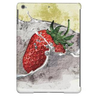Splashing strawberry artistic design cover for iPad air