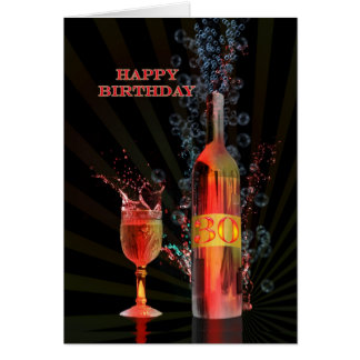 Splashing wine 30th birthday card