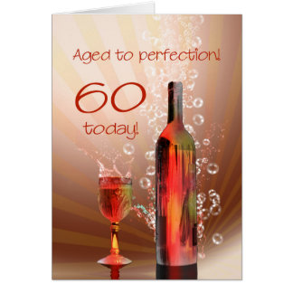Splashing wine 60th birthday card