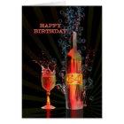 Splashing wine 64th birthday card