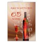 Splashing wine 65th birthday card