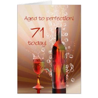 Splashing wine 71st birthday card
