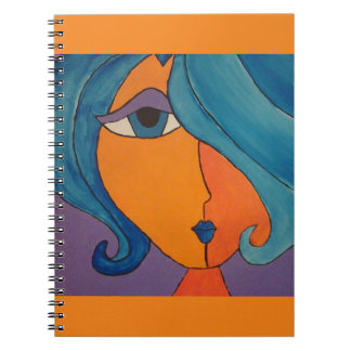 Splashy Bright Orange Pop Art Portrait Note Book