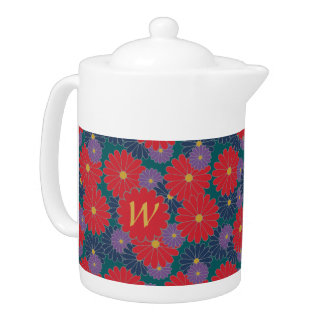Splashy Fall Floral Teapot