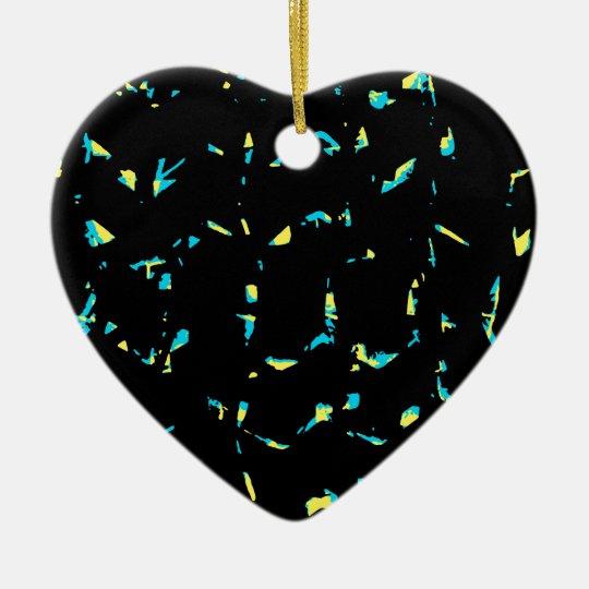 Splatter Abstract Dark Pattern Ceramic Heart Ornament