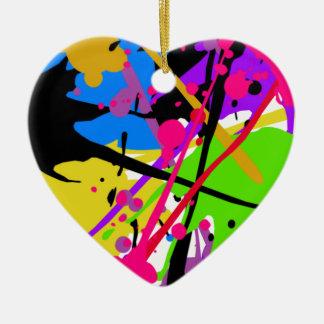 Splatter art graffitti to power ceramic heart ornament