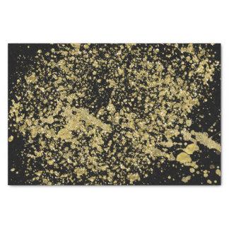 Splatter Faux Gold Printed Glitter On Black Tissue Paper
