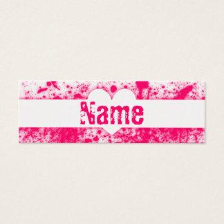 Splatter Hearts Pink Mini Business Card