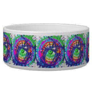 Splatter paint color wheel pattern dog water bowl