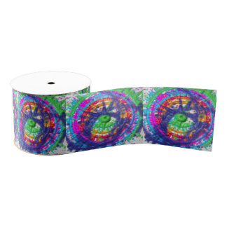 Splatter paint color wheel pattern grosgrain ribbon