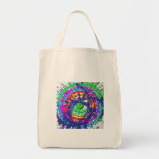 Splatter paint color wheel pattern tote bag