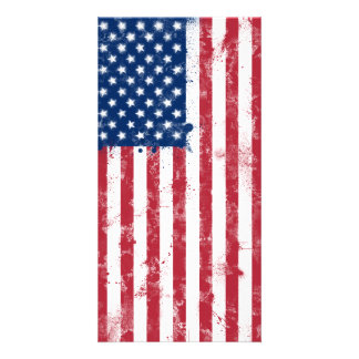 Splatter Painted American Flag Photo Greeting Card