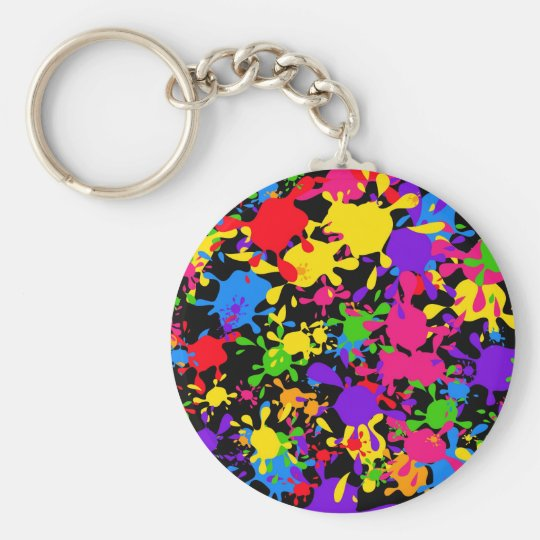 Splatter Wallpaper Basic Round Button Keychain