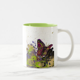Splattered Butterfly Mug 11oz (White/Lime)