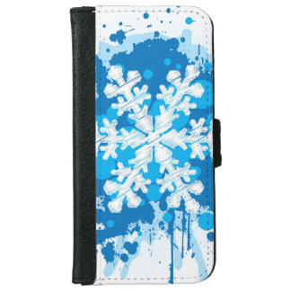 Splattered Paint Christmas Snowflake Design iPhone 6 Wallet Case