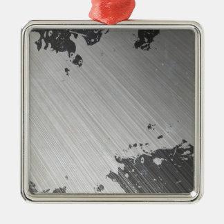 Splattered Urban Brushed Steel Silver-Colored Square Ornament
