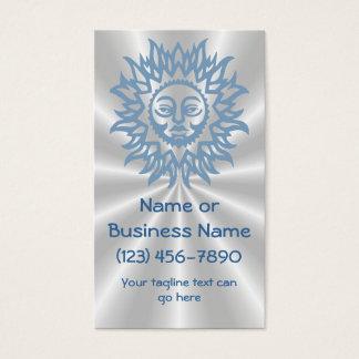 Splendid Sun in Blue on Silver Sunburst Background Business Card
