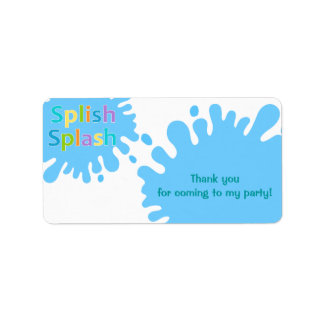 Splish Splash Pool Party Boy Favor Tag Label