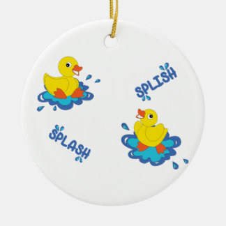 Splish Splash Round Ceramic Ornament
