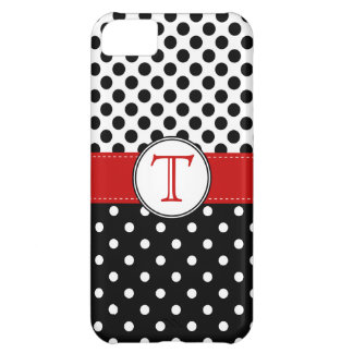 Split Black White Polka Dot RedvMonogram Cover For iPhone 5C