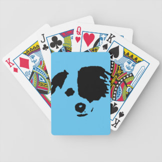 Split Face Border Collie Bicycle Playing Cards