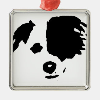 Split Face Border Collie Metal Ornament