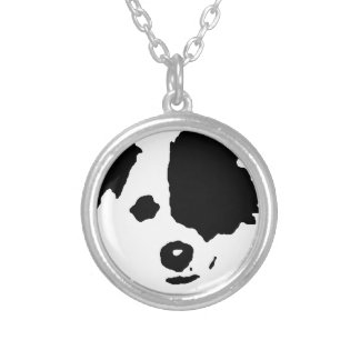 Split Face Border Collie Silver Plated Necklace