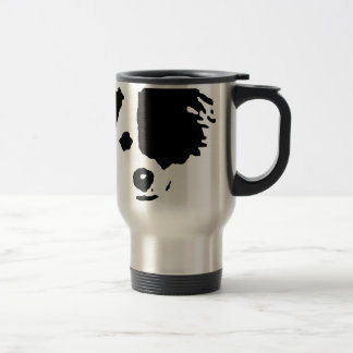 Split Face Border Collie Travel Mug