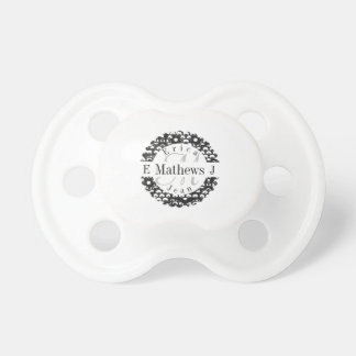Split Monogram with Names and Initals Baby Pacifiers