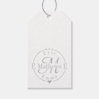 Split Monogram with Names and Initals Gift Tags